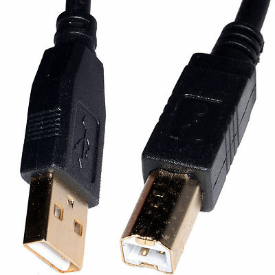 5m USB Cable Printer Lead Type A to B Male High Speed 2.0 GOLD PLATED CONNECTORS