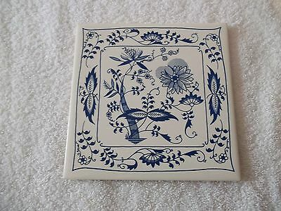 Vintage Soriano Ceramics Hand Painted Blue Onion Danube Tile Trivet Wall Hanging