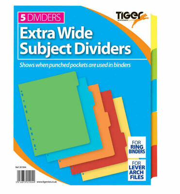 Pack of 10 A4 Extra Wide 5 Part Divider Tabbed Subject Colours Filing Organiser