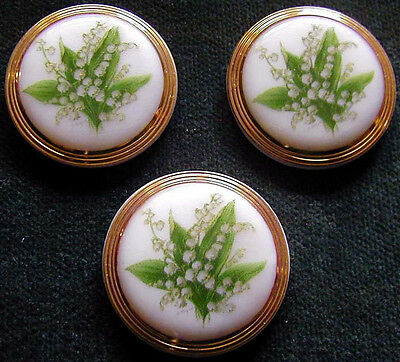 3 Czech Unique Glass Buttons #A113 - LILY-of-the-VALLEY
