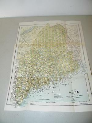 Vintage Antique State of Maine Map 1905 Yearbook 13124