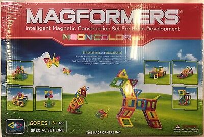 Magformers 63110 60 Pc Neon Color Magnetic Construction Set Magnets NEW