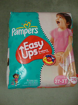 Pampers EASY UPS TRAINERS Diapers! Size 2T-3T (16-34 lbs)! JUMBO DORA Pack 26-Ct
