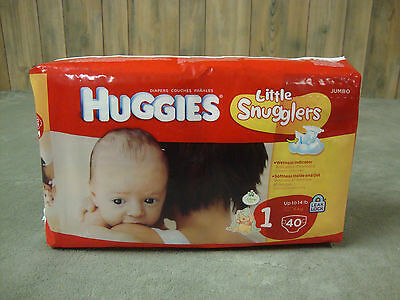 Huggies LITTLE SNUGGLERS Diapers! Size 1! (Up To 14 lbs)! Jumbo Pack 40 Count!