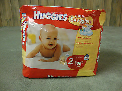 Huggies LITTLE SNUGGLERS Diapers! Size 2! (12-18 lbs)! Jumbo Pack 36 Count! NEW!