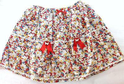 VINTAGE Girls Cotton Floral Elastic Waist Full Skirt