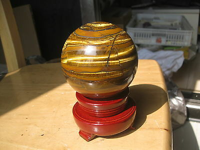 2.51lb(1140g)  NATURE TIGEREYE SPHERE CRYSTAL BALL HEALING+  stand   P573