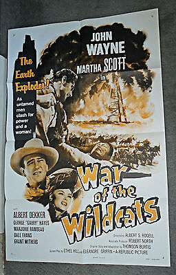 WAR OF THE WILDCATS/IN OLD OKLAHOMA original one sheet movie poster JOHN WAYNE