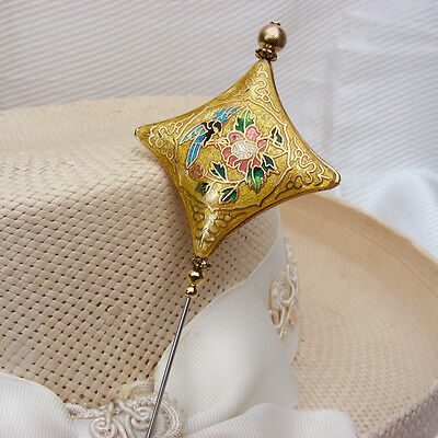 LONG HATPIN YELLOW & GOLD CLOISONNE with BIRD & FLOWERS