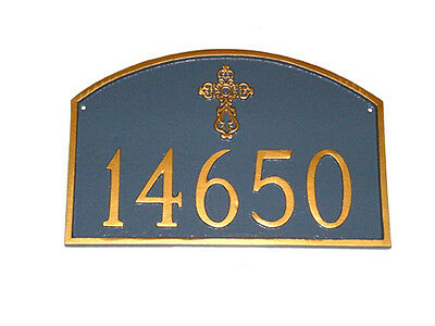 Religious Address Plaque Custom Personalization Prestige Cross House Sign Number