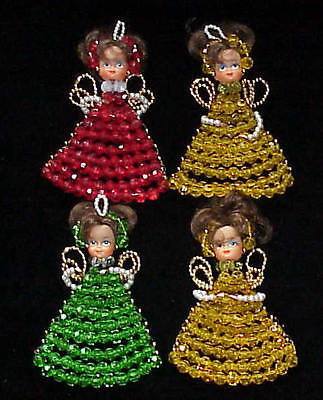 VINTAGE BEADED DOLL LOT OF 4 CHRISTMAS ORNAMENTS MUST SEE