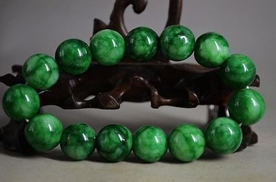 Beautiful Chinese fine green Jade Hand Carved bracele/bracelets 12MM