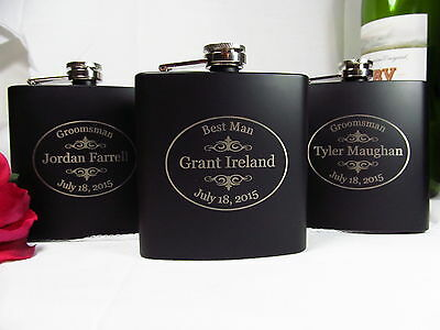 Personalized Engraved Flasks Groomsman Best Man Wedding Gift  Black Oval Style