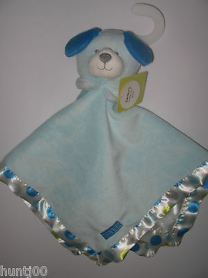 Carters Blue Polka Dot Circles Love Me Puppy Dog Security Blanket NWT NEW lovey