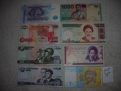 FOREIGN PAPER MONEY WORLD CURRENCY 1 thousand 1000,100,50,10,5,1 bills,8 pc lot