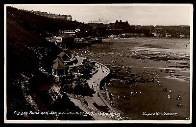 Scarborough UK so Cliff paths and spa old photo postcard