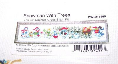 """Design Works SNOWMAN WITH TREE Counted Cross Stitch Kit 7"""" x 32"""""""