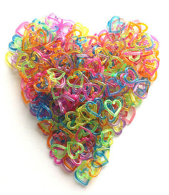 200pcs+10 free heart plastic links mix color for lovely birds parrot foot toy