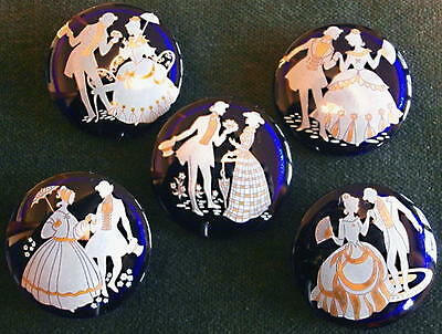 Collection of 5 Czech Crystal Glass Decal Butt.  #D676-GOLD/WHITE ROCOCO COUPLES