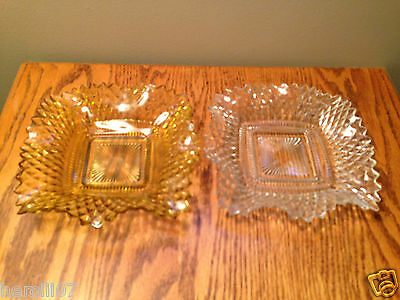 "(2) Vintage Indiana Glass Co. ""Diamond Point"" Topaz and Crystal Bon Bon Dishes"