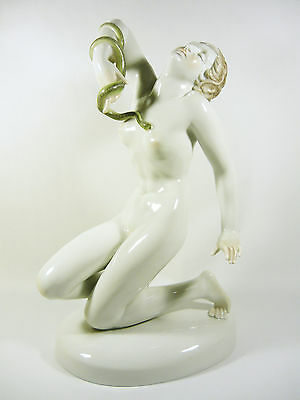 """Herend, The Death Of Cleopatra 16.7"""", Xxl Handpainted Porcelain Figurine !"""