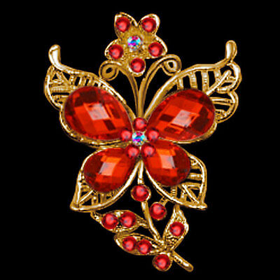 Vintage Red Rhinestone Crystal Golden Butterfly Flower Wedding Brooches Pins A02