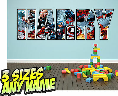 Personalised Kids LEGO HEROES Marvel Avengers Name Wall decal stickers *3 SIZES*