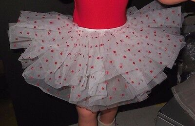 NWOT Wolff Fording Organdy 3 Layer Tutu White w/ Red Micro Dot