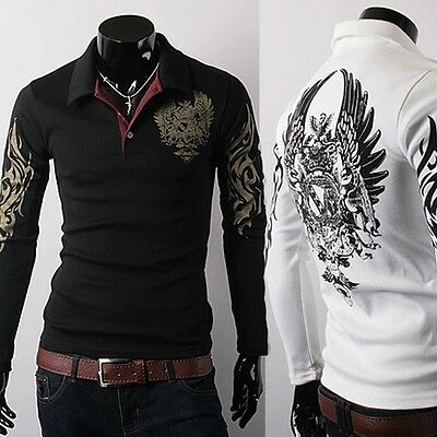 NEW Mens Stylish Slim Fit Casual fashion T-shirts Polo Shirt Long Sleeve T-shirt