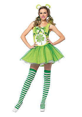 Adult Good Luck Bear St. Patricks Day Costume Sexy Cosplay  Womens Size M/L