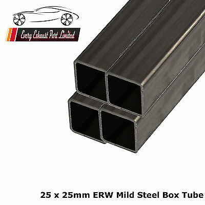 Mild Steel ERW Box 25mm x 25mm x 1.5mm, 1000mm Long - 4 Pack - Square Tube