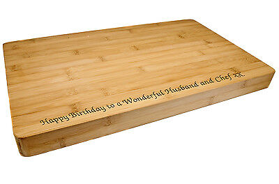 Personalised Premium Bamboo Chopping or Cheeseboard, Any Message Laser Engraved