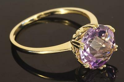 A NEW SOLID 9ct GOLD NATURAL AMETHYST SOLITAIRE RING size R/S (US 9)