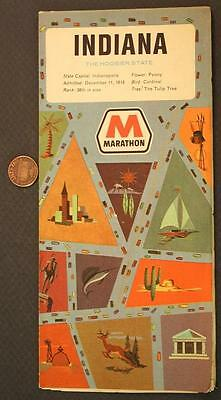 1968 Marathon Gas & Oil service station Indiana road map-The Hoosier State-COOL!