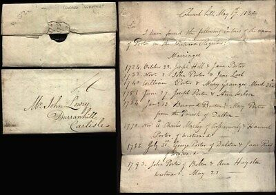 1830 WIGTON Letter Robert Wood, Church hill to Lowry, Carlisle RE PORTER family