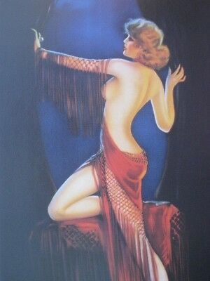 "Art Deco Pinup Girl Sexy Glamour Girl ""Lady in Red"" by Irene Patten Beautiful A+"