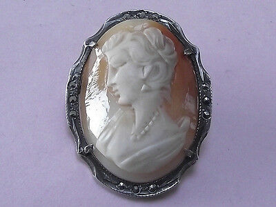 Vintage Sterling Silver & Marcasite Cameo Brooch Pin 1950