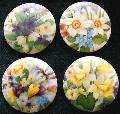 4 Czech Glass Decal Buttons #A630-UNIQ. COLLECTION of 4 DIFFERENT SPRING FLOWERS