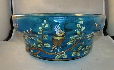 Antique Bohemian glass large blue bowl with parrot cockatoo 19th Moser