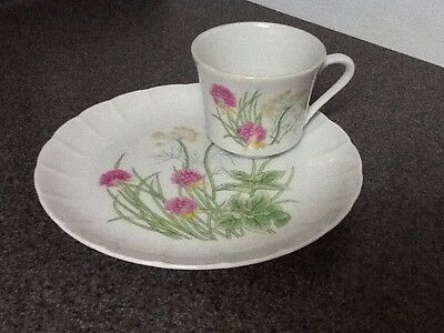SET of 4. SNACK / LUNCHEON PLATES WITH MATCHING CUPS~~SHAFFORD~~HERBS & SPICES