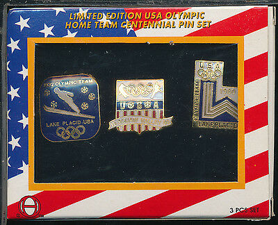 1996 JC PENNY LIMITED EDITION USA OLYMPIC HOME TEAM CENTENNIAL 3 PIN SET MINT