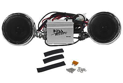"BOSS MC400 3"" 600 Watt Motorcycle/ATV/UTV/Bike Weatherproof Speakers+Amplifier"