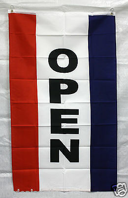 VERTICAL OPEN flag 3'x5' RED WHITE BLUE banner store concession business advert