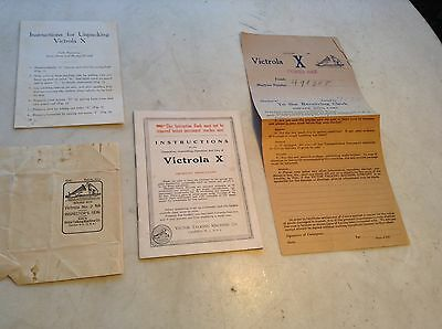 """1919 Victor Victrola Phonograph """"X"""" Instructions & Packaging Info Advertising"""