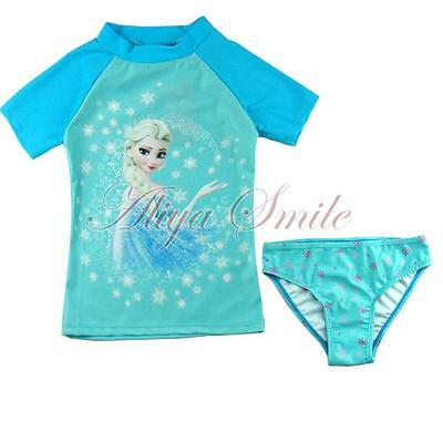 Girl Kids Queen Princess Rash Guard Surfing Swimwear Swimsuit Tankini Set 2PCS