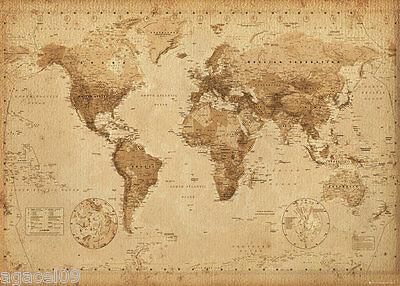Giant Map Of The World Poster Wall Brand New Antique Style Great Gift Present