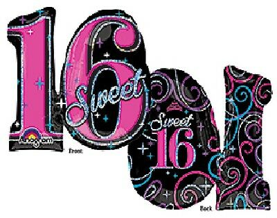 "SWEET 16 Sixteen 16th Black Pink Silver 26"" Happy Birthday Party Mylar Balloon"