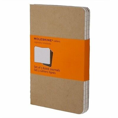 Moleskine ~ Cahiers Ruled Journals ~ Set of 3 ~ Size Pocket ~ Kraft Color ~NIP