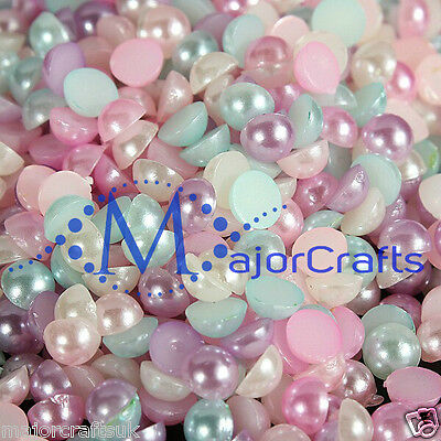 500pcs Pastel Mixed Colours 6mm Flat Back Half Round Resin Pearls Craft DIY Gems