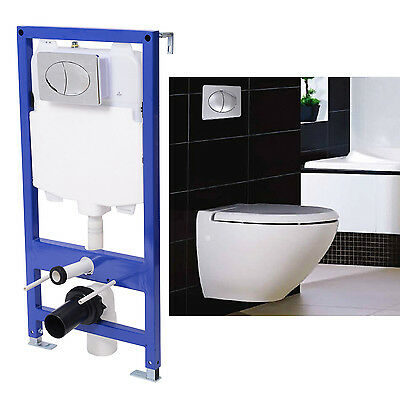 Cistern Concealed Frame Bathroom WC Flush Wall Hung Toilet Chrome Push Button